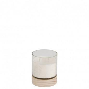 Bougie parfumee chalet verre bois transparent naturel