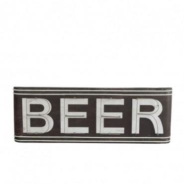 Panneau beer metal marron blanc