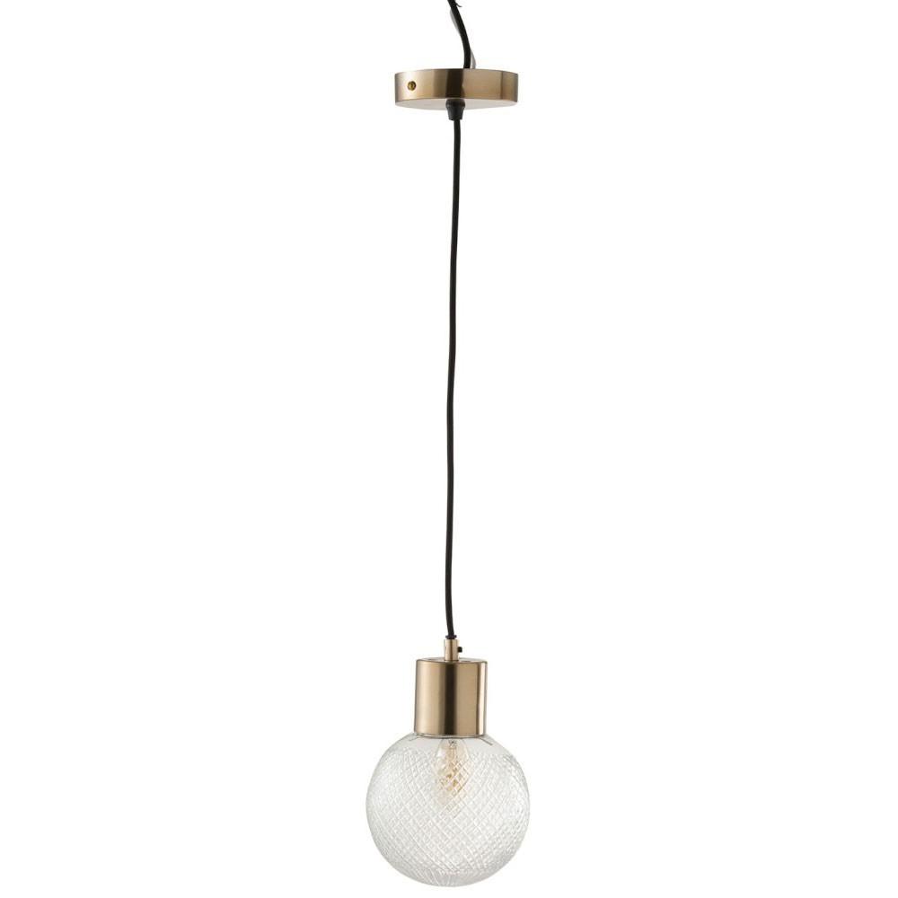 Lampe Suspendue Boule Verre Or Medium