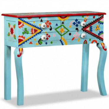 Table Console Baroques Bleue Peinte À La Main En Bois De Manguier...