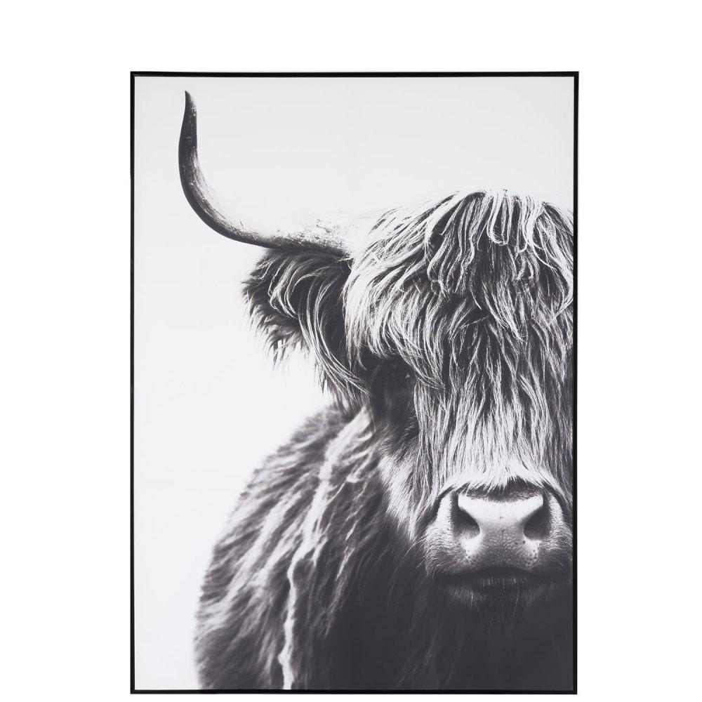 Cadre yack bois papier blanc noir