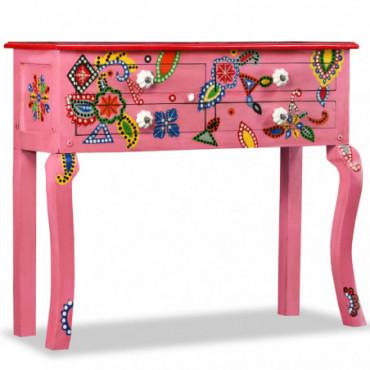 Table Console Baroques Rose Peinte À La Main En Bois De Manguier...