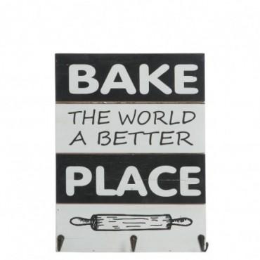 Pancarte cuisine 3 crochets bois blanc noir