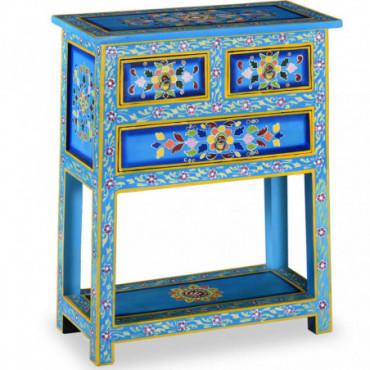 Buffet Fleuri Peinture Turquoise Avec Tiroirs En Bois Massif De...