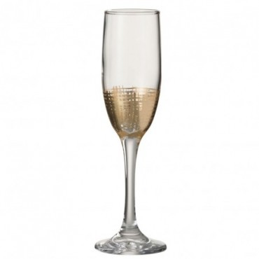 Verre a champagne grillage verre or transparent