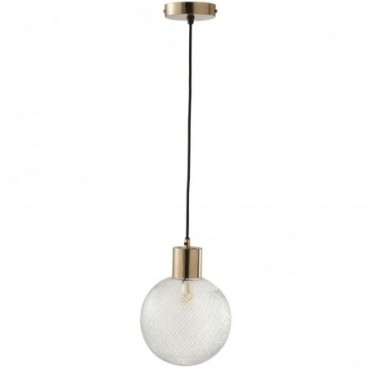 Lampe Suspendue Boule Verre Or Large