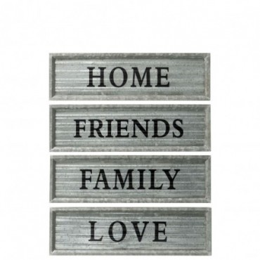 Pancarte home friends family love metal gris assortiment de 4
