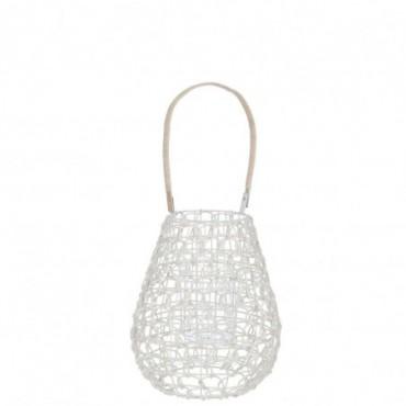 Lanterne grillage rotin verre blanc naturel 26x26x53cm