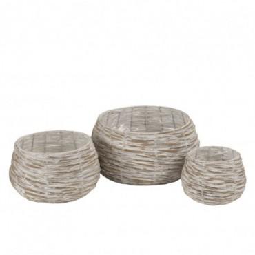 Set de 3 cachepots boule saule plastique blanc wash