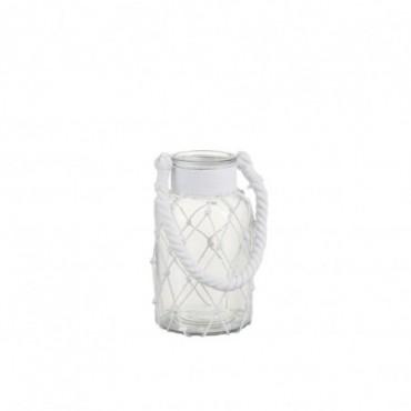 Lanterne filet verre corde transparent blanc small