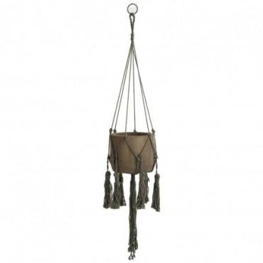 Cachepot suspendu bois textile marron large