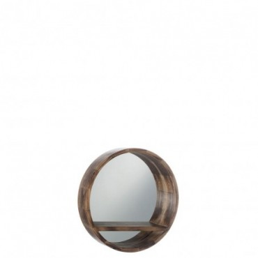 Miroir rond tablette bois marron small