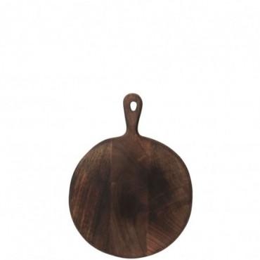 Planche a decouper rond bois marron fonce medium