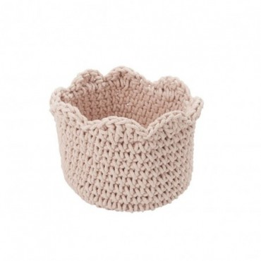 Panier rond crochet coton rose
