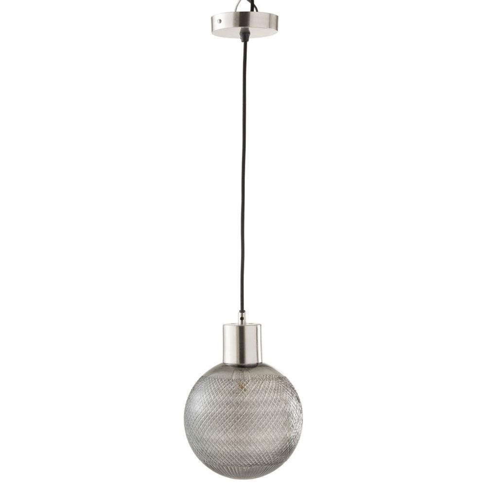 Lampe Suspendue Boule Verre Argent Large