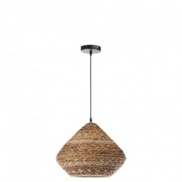 Lampe suspendue ronde metal feuilles de bananier naturel