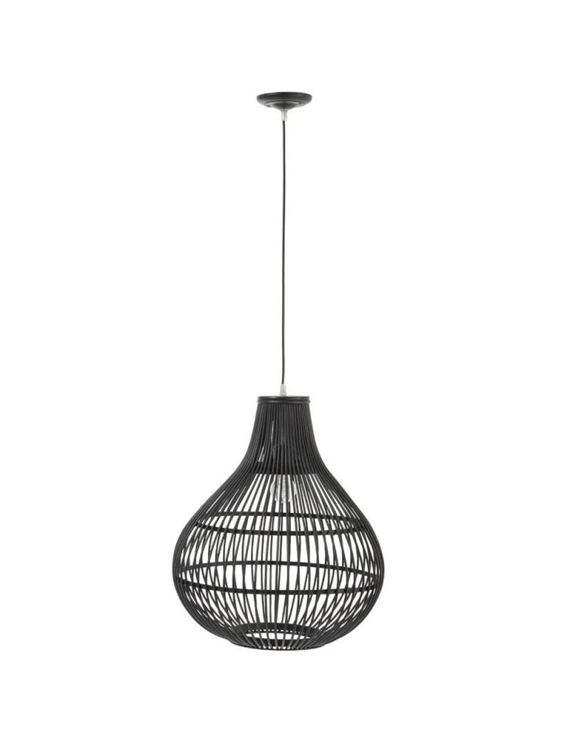Lampe Suspendue Barres Bambou Noir