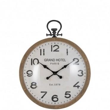 Horloge ronde boule verre bois naturel large
