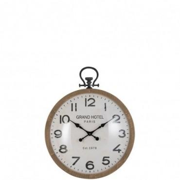Horloge ronde boule verre bois naturel small