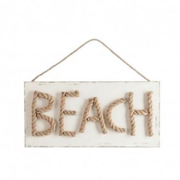 Pancarte beach corde bois naturel blanc
