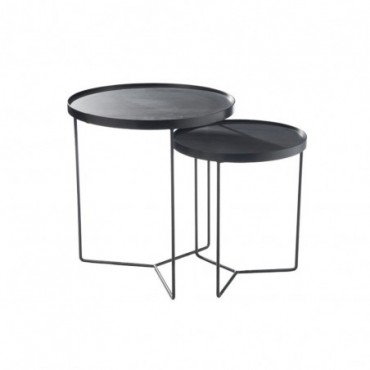 Set de 2 tables gigognes ronde bois metal marron fonce