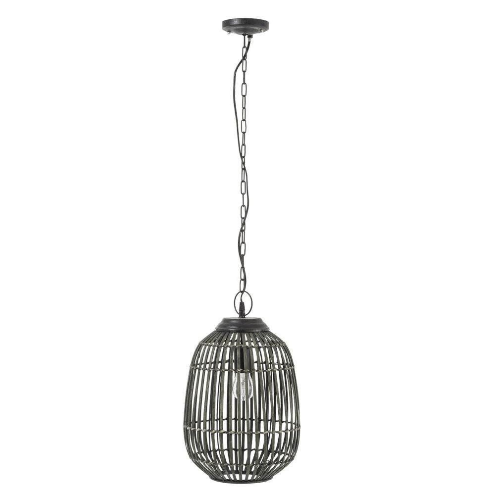 Lampe Suspendue Barres Bambou Kaki