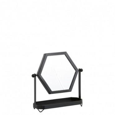 Miroir sur pied metal verre noir