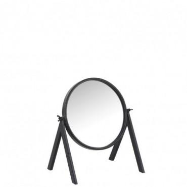 Miroir rond pied zinc verre noir