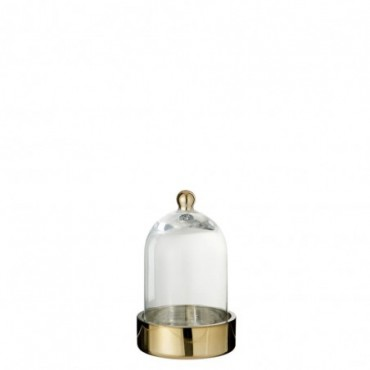 Cloche ronde deco verre or transparent small