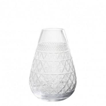 Vase conique verre taille verre transparent