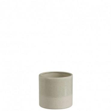 Cachepot bord ceramique blanc gris clair small
