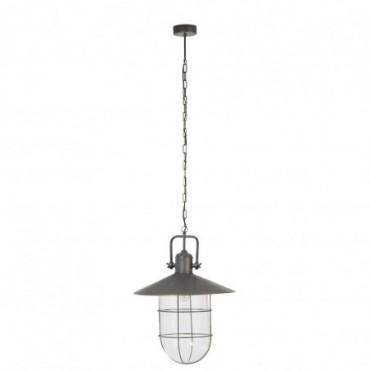 Lampe Suspendue + Abat-Jour Metal/Verre Gris