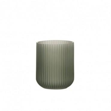 Vase stries verre vert fonce small