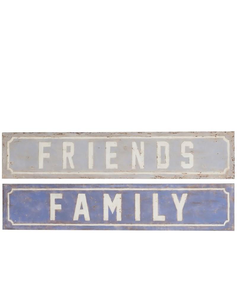 Pancarte family friends metal violet assortiment de 2