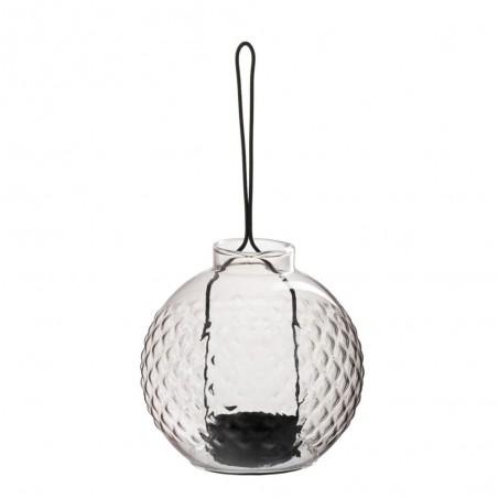 Photophore boule quadrille verre metal mauve noir