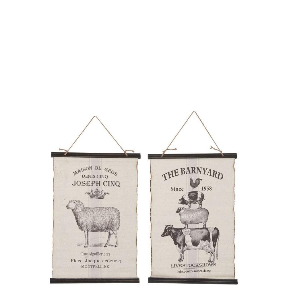 Affiche animaux coton bois mix assortiment de 2