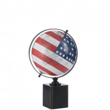 Mappemonde sur pied bois drapeau usa medium