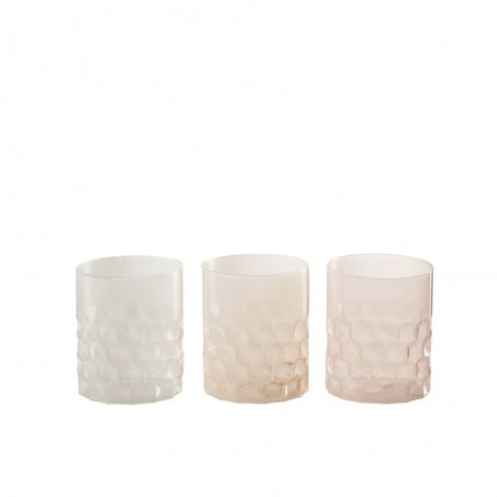 Photophore cylindrique gaufre verre pastel mix assortiment de 3