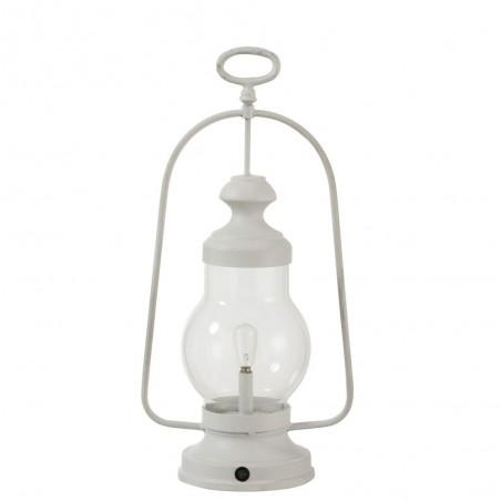 Lampe Led Lanterne Haute Anse Metal/Verre Blanc