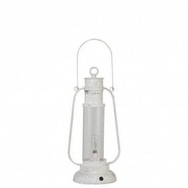 Lampe Led Piles Non Incluses Lanterne Metal/Verre Antique Blanc Small