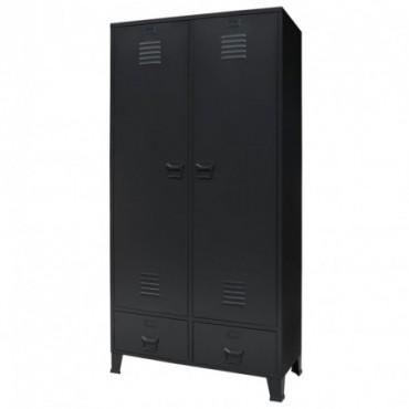 Armoire métallique de vestière style industriel Noir 90x40x180cm