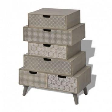 Armoire de rangement avec 6 tiroirs gris