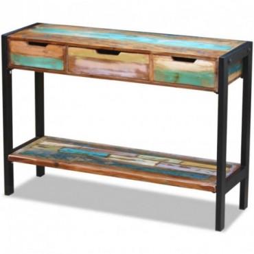 Buffet 3 tiroirs en bois de récupération massif
