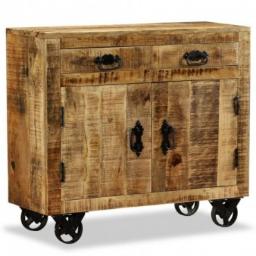 Buffet avec 2 tiroirs et 1 placard en bois de manguier brut