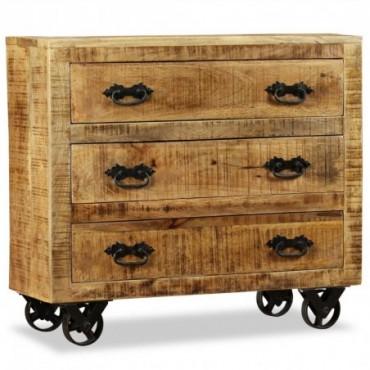 Buffet à roulettesavec 3 tiroirs en bois de manguier brut
