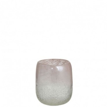 Vase Scavo Rond Verre Rose Small