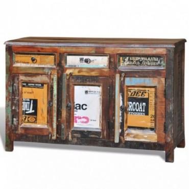 Placard vintage avec 3 tiroirs 3 portes en bois massif récupérées