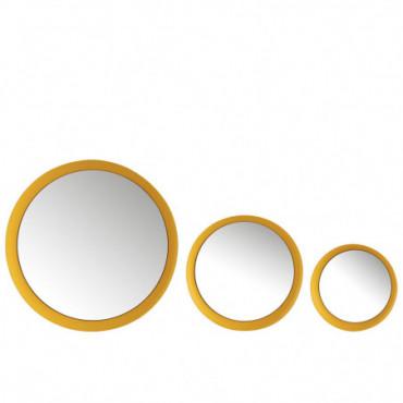 Set 3 Miroirs Metal Mat Jaune