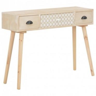 Console avec 3 tiroirs en bois de pin massif 100x30x73cm Matériau :...