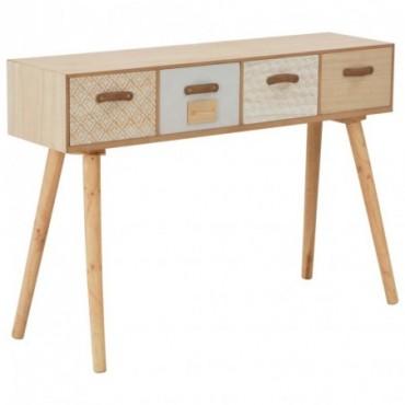 Console avec 4 tiroirs en bois de pin massif 110x30x75cm